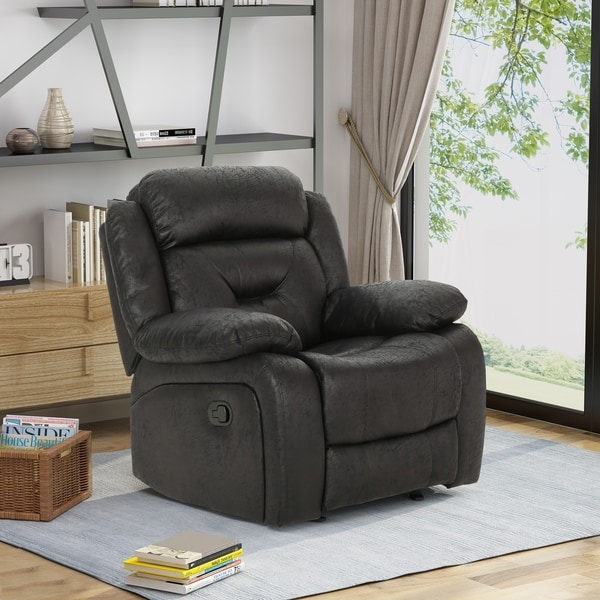 Horatius Traditional Overstuffed Glider Recliner with Microfiber Upholstery by Christopher Knight Home