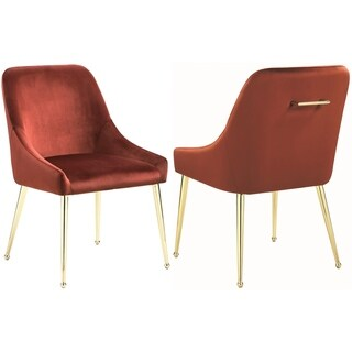 Mid Century Italian Design Classic Red Velvet Dining Chairs with Brass Legs (Set of 2)