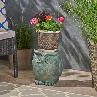 Pratchett Light weight Concrete Owl Garden Stool by Christopher Knight Home