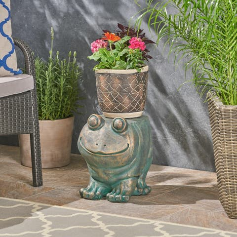 Jacobson Light weight Concrete Frog Garden Stool by Christopher Knight Home
