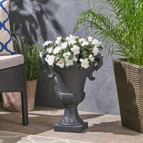 Delphine Roman Botanical Chalice Lightweight Concrete Garden Urn Planter by Christopher Knight Home