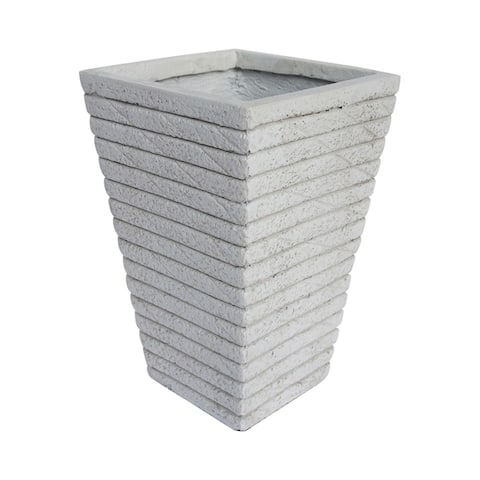 Jude Square Tapered Riveted Lightweight Concrete Garden Urn Planter by Christopher Knight Home