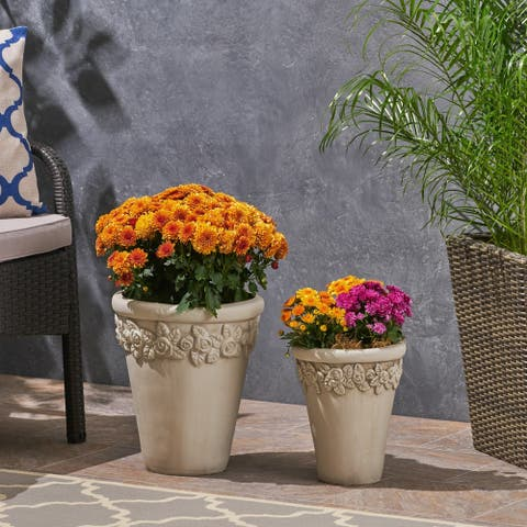 Alba Tapered Lipped Edges Lightweight Concrete Garden Planter Pots (Set of 2) by Christopher Knight Home