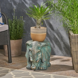 Godwin Light weight Concrete Elephant Garden Stool by Christopher Knight Home