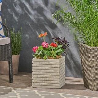 Kaden Square Riveted Lightweight Concrete Garden Urn Planter by Christopher Knight Home