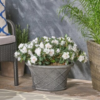 Jax Lattice Pattern Lipped Edge Lightweight Concrete Garden Urn Planter Pot by Christopher Knight Home