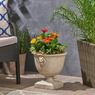Link to Simba Roman Lionhead Accents Chalice Lightweight Concrete Garden Urn Planter by Christopher Knight Home Similar Items in Planters, Hangers & Stands