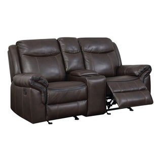 Transitional Faux Leather Gel Recliner Love Seat With Power Outlet, Brown