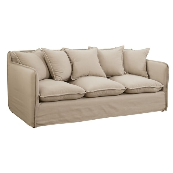Loose Pillow Back Sofa: Shop Linen-Like Fabric Sofa With Loose Back Pillows, Beige