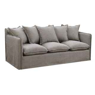 Transitional Linen-Like Fabric Sofa With Slim Track Arms, Gray