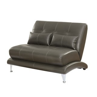 Contemporary Leatherette Love Seat With Pillows, Gray