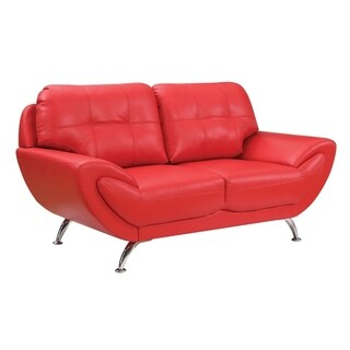 Contemporary Leatherette Love Seat With Tufting, Red