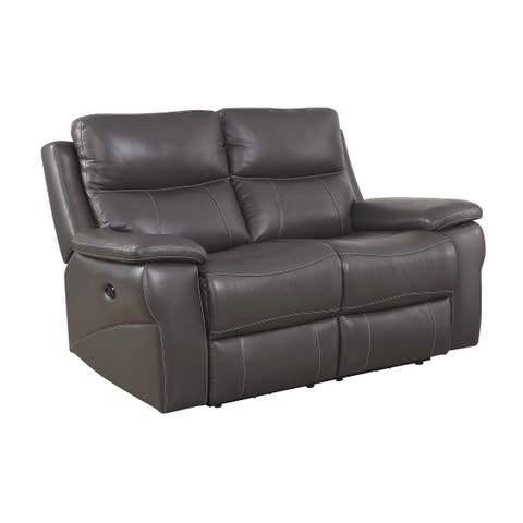 Top Grain Leather Match Love Seat With Power Recliners & Power Headrests, Gray