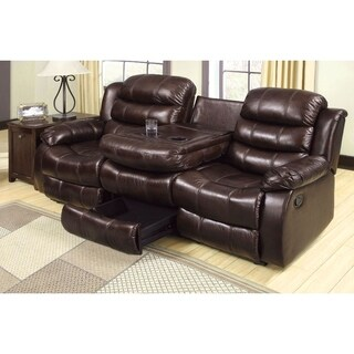 Transitional Leatherette Recliner Sofa With Folding Console, Rustic Brown