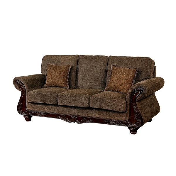 Traditional Fabric Sofa With High Density Foam Cushions, Brown