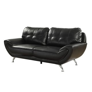 Contemporary Leatherette Sofa With Pillows, Black