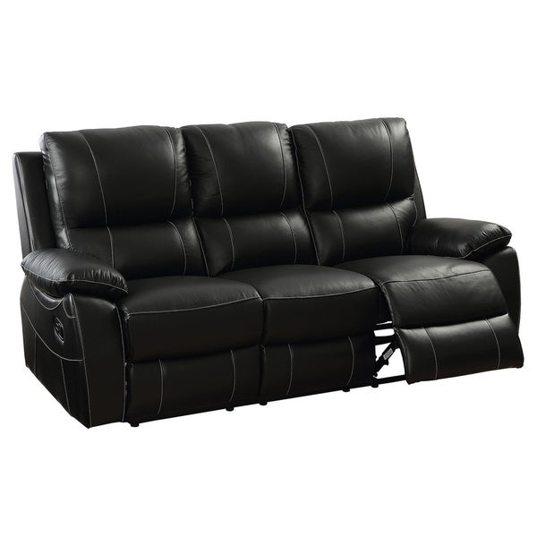 Leather Match Sofa: Shop Top Grain Leather Match Sofa With Recliners, Black