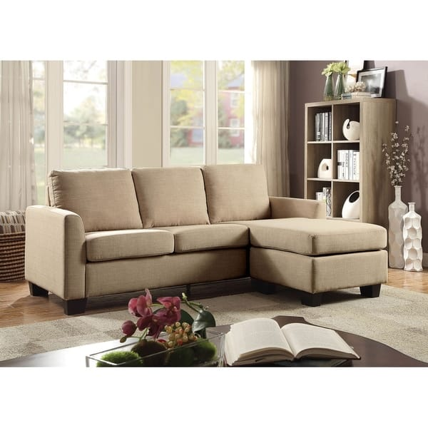 Linen-Like Fabric Corner Sleeper Sofa With L-Shaped Design, Beige