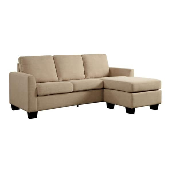 Linen-Like Fabric Corner Sleeper Sofa With L-Shaped Design, Beige