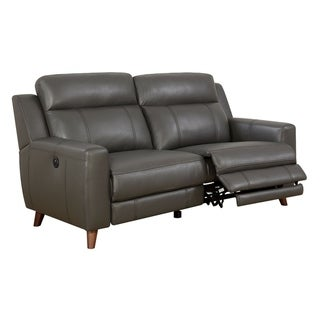 Transitional Leather Gel Recliner Sofa With Power Outlet, Gray