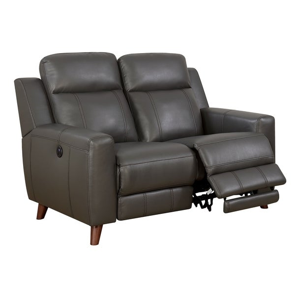 Transitional Leather Gel Recliner Love Seat With Power Outlet, Gray