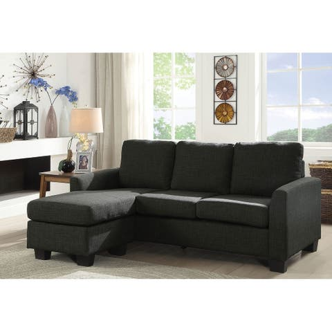 L Shaped Fabric Upholstered Sectional Sofa with Wooden Legs, Dark Gray