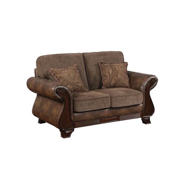 Traditional Fabric and Leatherette Love Seat With Rolled Arms, Brown