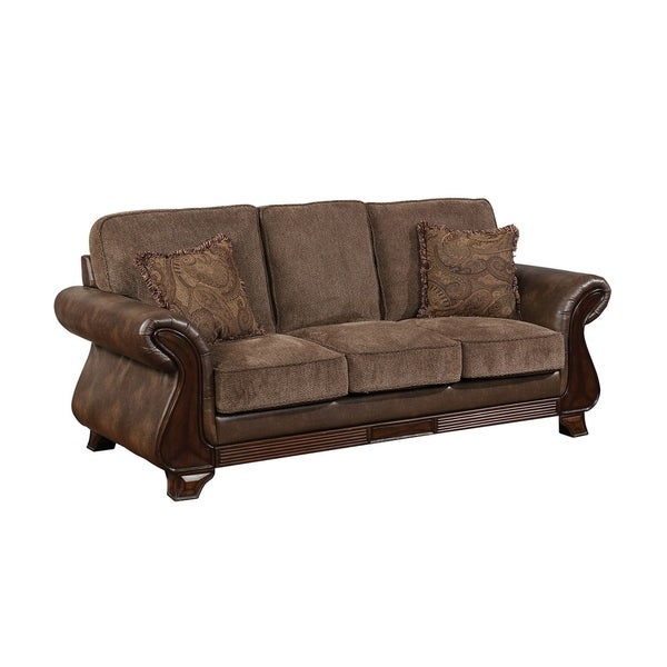 Traditional Fabric and Leatherette Sofa With Rolled Arms, Brown
