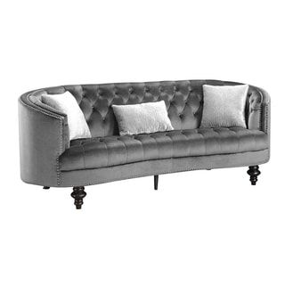 Nail head Trim Fabric upholstered Wooden Sofa with Button Tufted Details, Gray