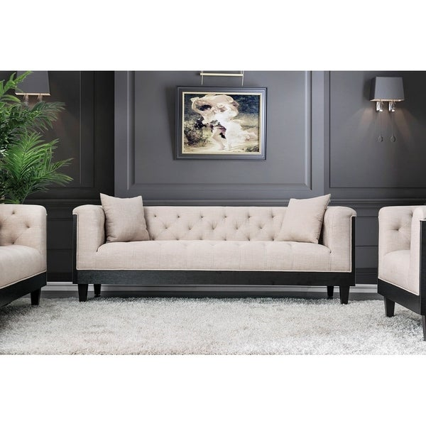 Button Tufted Fabric Upholstered Wooden Sofa with Elevated Arms, Beige and Black