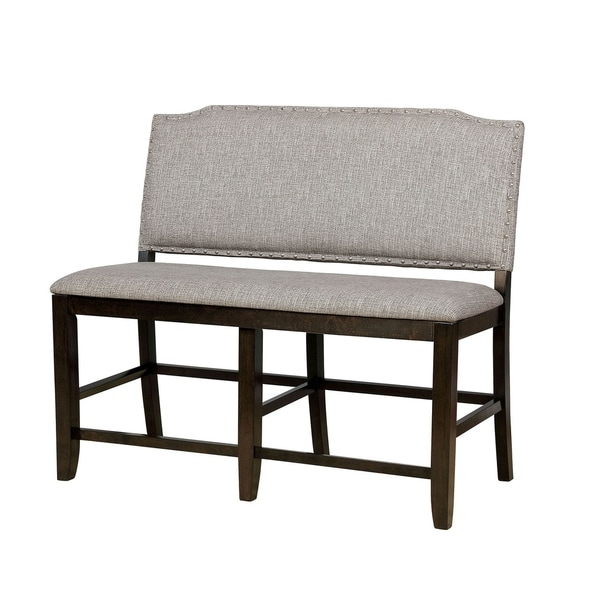 Shop Fabric Upholstered Wooden Counter Height Bench Gray
