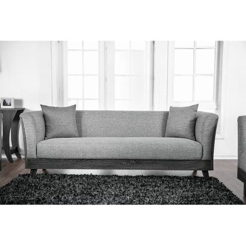 Fabric Upholstered Wooden Sofa with Flared Armrest and Angled Legs, Gray