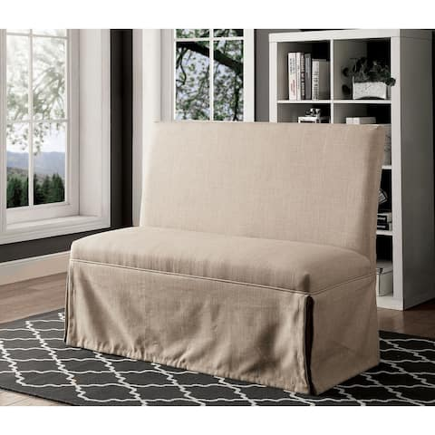 Fabric Upholstered Solid Wood Love Seat Bench with Skirted Panel, Beige