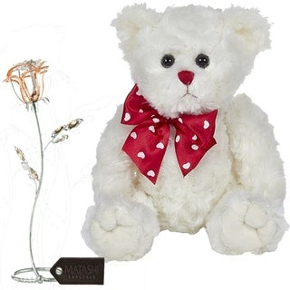 Matashi KTMTFLT52 Rose Flower Gift Tabletop Ornament w Crystals, Best Lovable Gift Flowers (Bear & Flower Set, Rose Gold)
