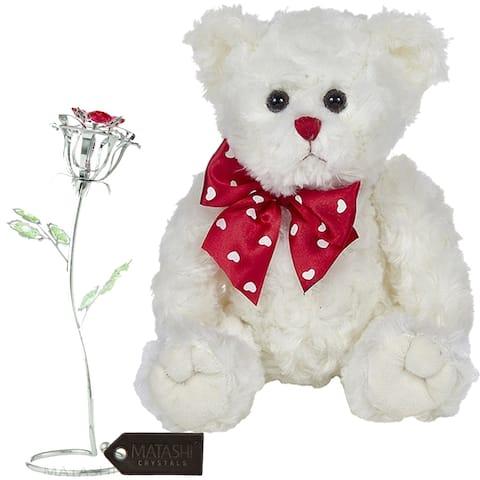 Matashi KTMTFLT54 Rose Flower Gift Tabletop Ornament w Crystals, Best Lovable Gift Flowers (Bear & Flower Set, Large, Silver 2)