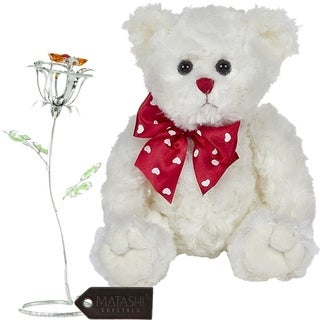 Matashi KTMTFLT53 Rose Flower Gift Tabletop Ornament w Crystals, Best Lovable Flowers (Bear & Flower Set, Large, Silver)