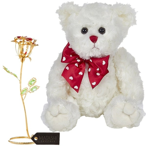 Matashi KTMTFLT51 Rose Flower Gift Tabletop Ornament w Crystals, Best Lovable Gift Flowers (Bear & Flower Set, Large, Gold)