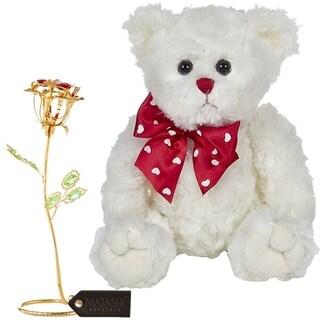 Matashi KTMTFLT51 Rose Flower Gift Tabletop Ornament w Crystals, Best Lovable Gift Flowers (Bear & Flower Set, Large, Gold)