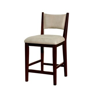 Fabric Upholstered Solid Wood Counter Height Chair, Pack of Two, Cherry Brown and Gray