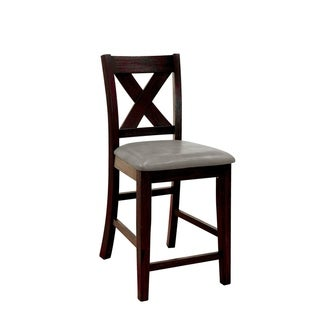 Solid Wood Counter Height Chair with X-Cross Back Design, Pack of Two, Black and Gray