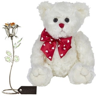 Matashi KTMTFLT50 Rose Flower Gift Tabletop Ornament w Crystals, Best Lovable Gift Flowers (Bear & Flower Set, Gunmetal)