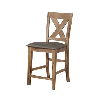 Solid Wood Counter Height Chair with X-Cross Back Design, Pack of Two, Brown and Gray