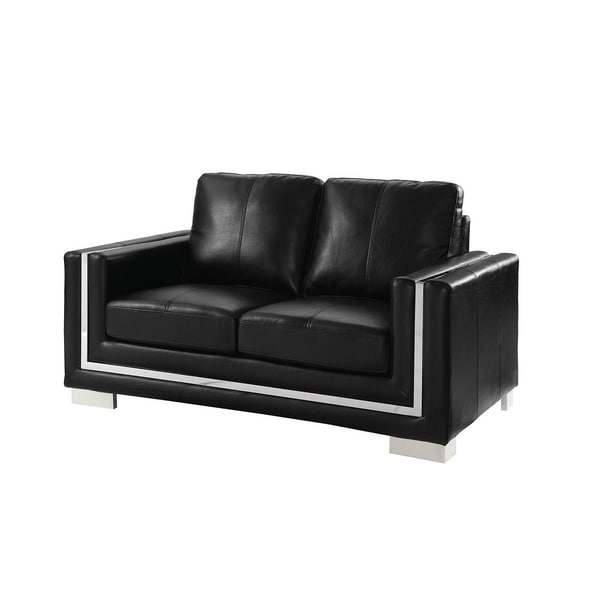 Contemporary Leather Gel Love Seat With Chrome Legs, Black