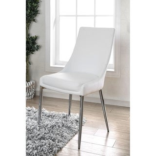 Leatherette Upholstered Metal Side Chair with Tapered Legs, Pack of Two, White and Silver