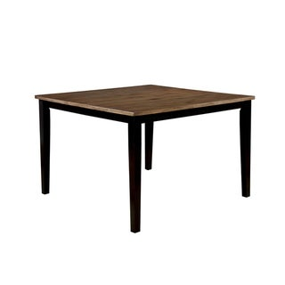 Dual Tone Solid Wood Counter Height Table with Tapered Legs, Brown and Black