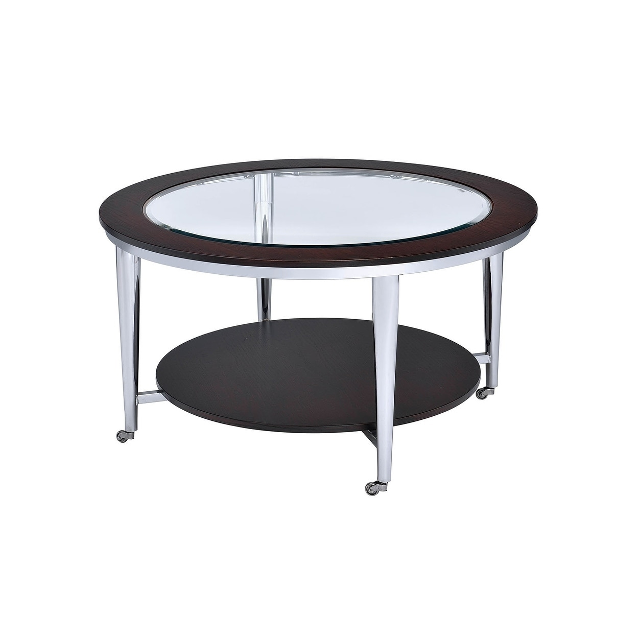 Picture of: Wood And Metal Round Coffee Table With Glass Inserted Top Espresso Brown And Silver On Sale Overstock 24115916
