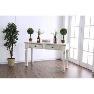 Spacious Wooden Sofa Table with Carved Turned Legs, Antique White