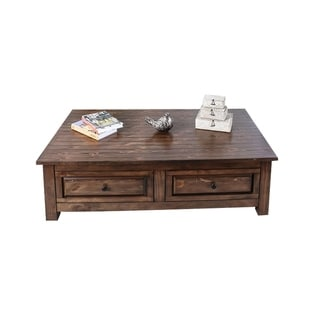 Two Drawers Wooden Coffee Table with Natural Grain Texture, Walnut Brown