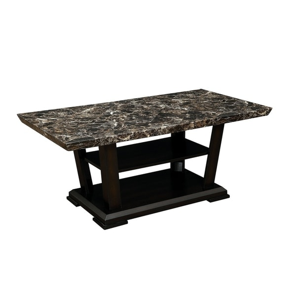 Wooden Coffee Table with Faux Marble Top, Dark Cherry Brown