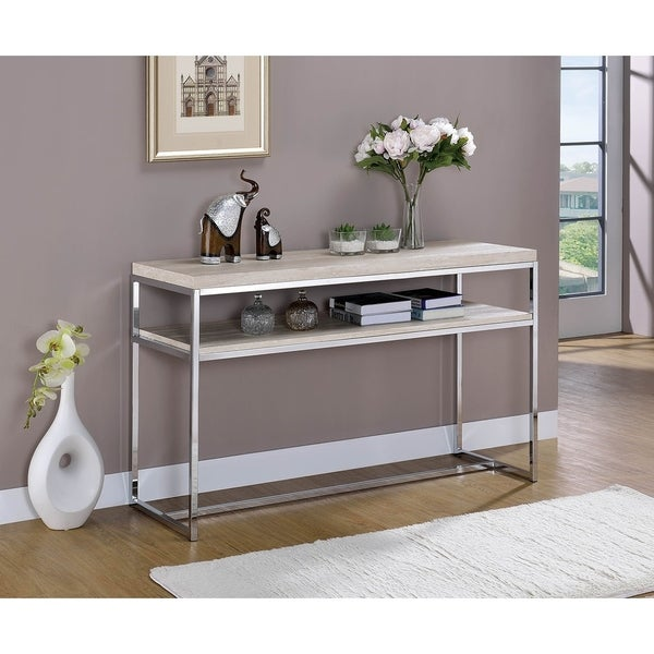 Metal Framed Sofa Table with Wooden Top and Shelf, Silver and Weathered White